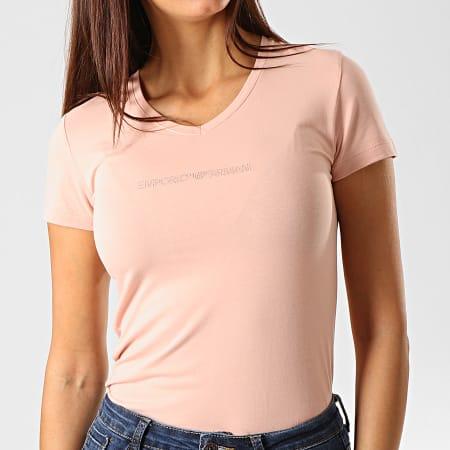 Emporio Armani - Tee Shirt Col V Femme A Strass 163321-9A263 Rose Poudré
