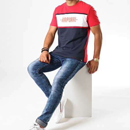 Kaporal - Tee Shirt Otys Rouge Bleu Marine Blanc