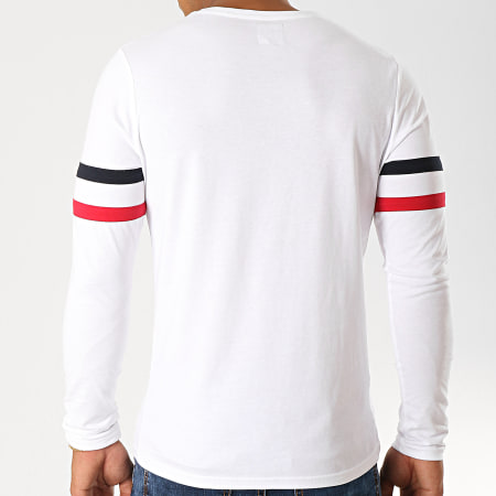 LBO - Tee Shirt Manches Longues Avec Bandes Tricolore 886 Blanc