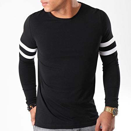LBO - Tee Shirt Manches Longues Avec Bandes Blanches 887 Noir