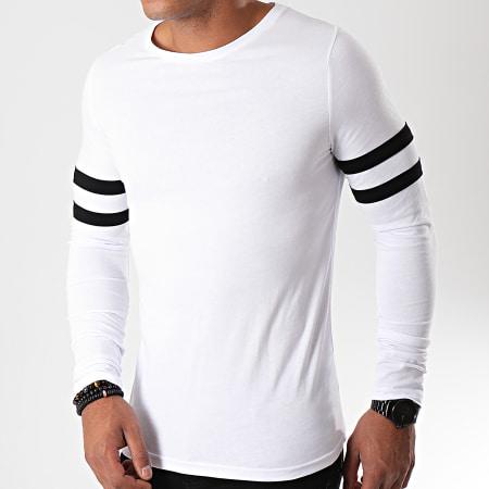 LBO - Tee Shirt Manches Longues Avec Bandes Noires 888 Blanc