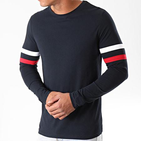 LBO - Tee Shirt Manches Longues Avec Bandes Tricolores 910 Bleu Marine