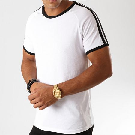 LBO - Tee Shirt Bandes Noires 912 Blanc