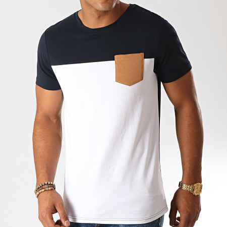 LBO - Tee Shirt Poche 930 Blanc Bleu Marine Camel