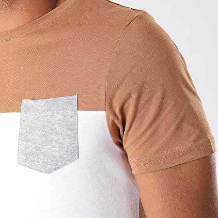 LBO - Tee Shirt Poche 931 Blanc Camel Gris Chiné