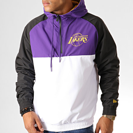 New Era - Coupe-Vent Col Zippé Capuche NBA Los Angeles Lakers 12033458 Violet Blanc Noir
