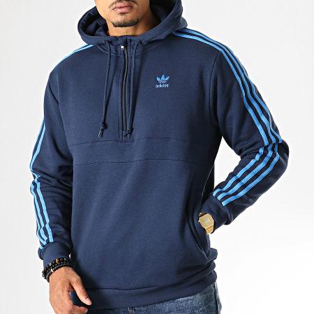 adidas - Sweat Col Zippé Capuche A Bandes 3 Stripes EK0255 Bleu Marine