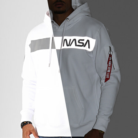 Alpha Industries - Sweat Capuche NASA Réfléchissant 198313 Blanc Gris