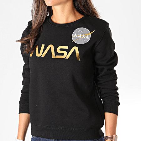 Alpha Industries - Sweat Crewneck Femme NASA PM 198037 Noir Doré