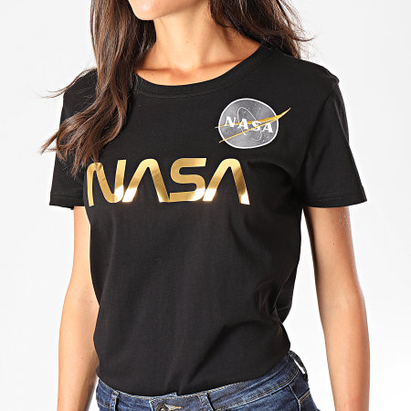 Alpha Industries - Tee Shirt Femme NASA PM 198053 Noir Doré