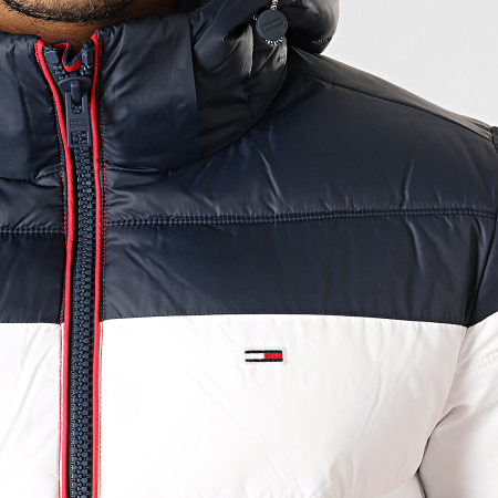Tommy Hilfiger Jeans - Doudoune Rugby Stripe Puffer 7255 Rouge Bleu Marine Blanc