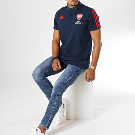 adidas - Polo Manches Courtes A Bandes Arsenal EH5714 Bleu Marine Rouge