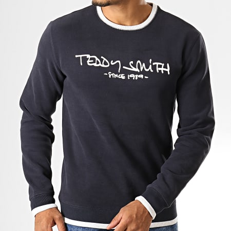 Teddy Smith - Sweat Crewneck Siclass Bleu Marine Foncé Blanc