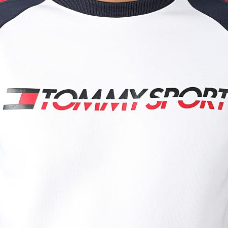 Tommy Sport - Sweat Crewneck A Bandes Fleece 0276 Blanc Bleu Marine Rouge