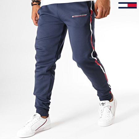 Tommy Sport - Pantalon Jogging A Bandes Fleece 0294 Bleu Marine Blanc Rouge