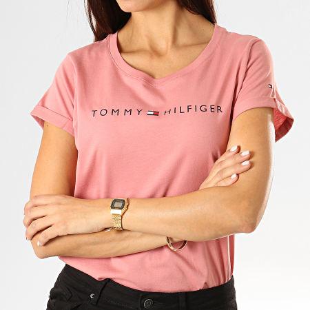 Tommy Hilfiger Jeans - Tee Shirt Femme RN Logo 1618 Rose