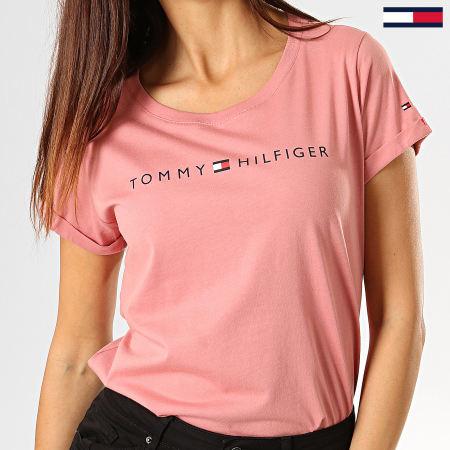 Tommy Hilfiger - Tee Shirt Femme RN Logo 1618 Rose