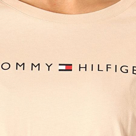 Tommy Hilfiger Jeans - Tee Shirt Manches Longues Femme CN Logo 1910 Beige