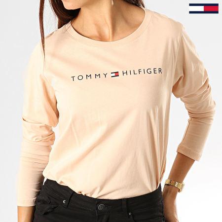 Tommy Hilfiger - Tee Shirt Manches Longues Femme CN Logo 1910 Beige