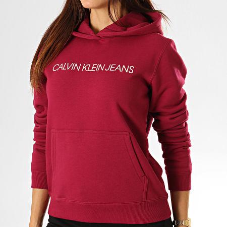 Calvin Klein Jeans - Sweat Capuche Femme 2308 Bordeaux