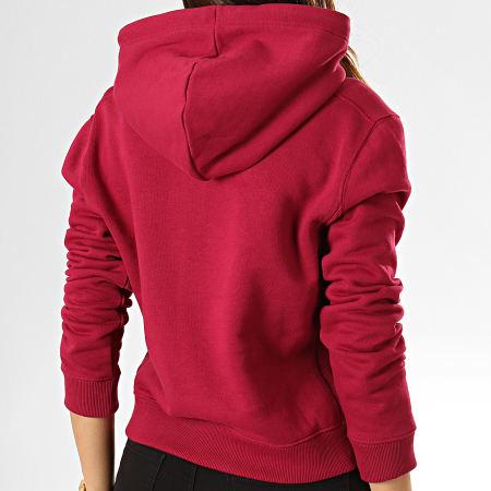 Calvin Klein Jeans - Sweat Capuche Crop Femme 2395 Bordeaux