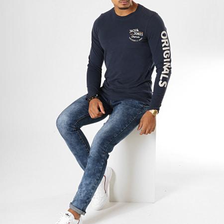 Jack And Jones - Tee Shirt Manches Longues Upton Bleu Marine