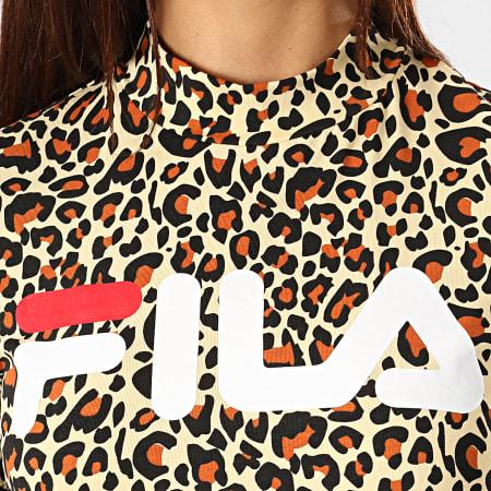 Fila - Tee Shirt Crop Femme Every AOP Turtle 687274 Jaune Clair Leopard