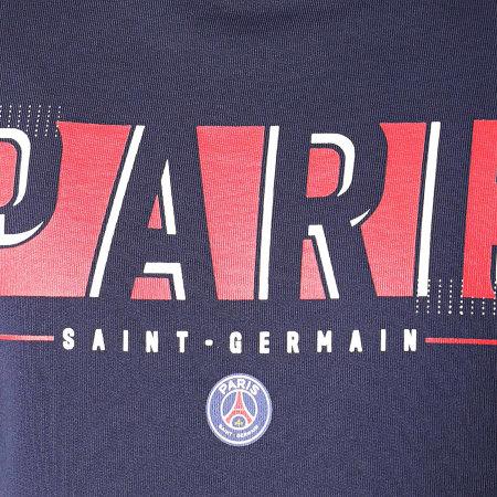 PSG - Sweat Crewneck A Bandes Paris Saint-Germain P13053 Bleu Marine