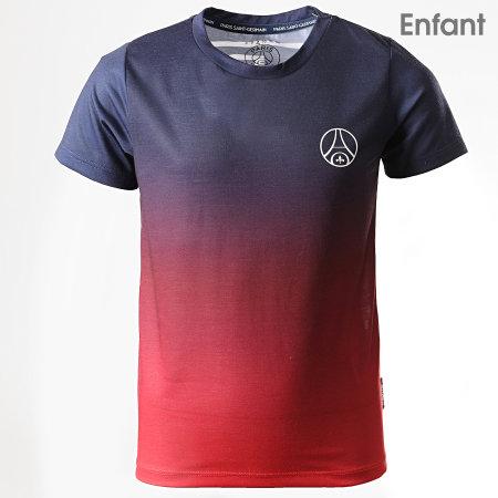PSG - Tee Shirt De Sport Enfant PSG Big Logo Dos P13100C Bleu Marine Rouge Dégradé