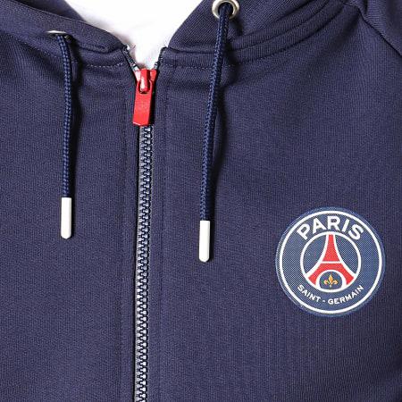 PSG - Veste Zippée Capuche A Bandes Paris Saint-Germain Bleu Marine