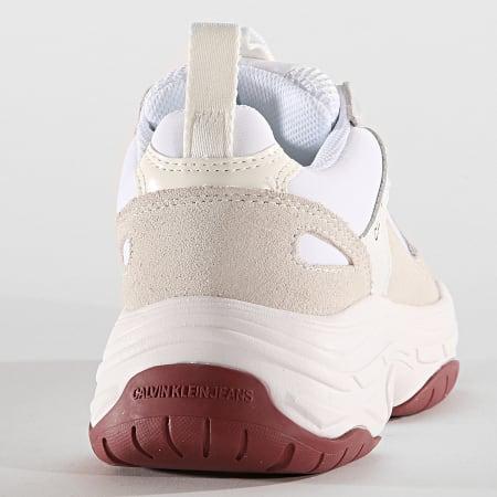 Calvin Klein - Baskets Femme Maya Low Top Lace Up Mesh R0802 White