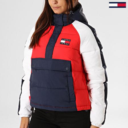 Tommy Hilfiger Jeans - Doudoune Femme A Bandes RWB Detail Popover 7366 Rouge Bleu Marine Blanc