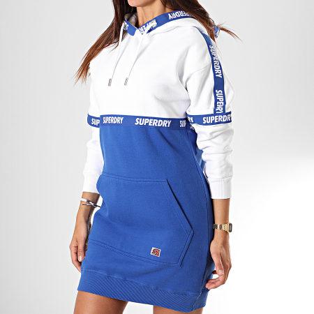 Superdry - Robe Sweat Capuche Femme Mono Block W8000018A Blanc Bleu