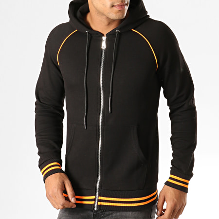 Ikao Sweat Zippé Capuche F660 Noir Orange Fluo
