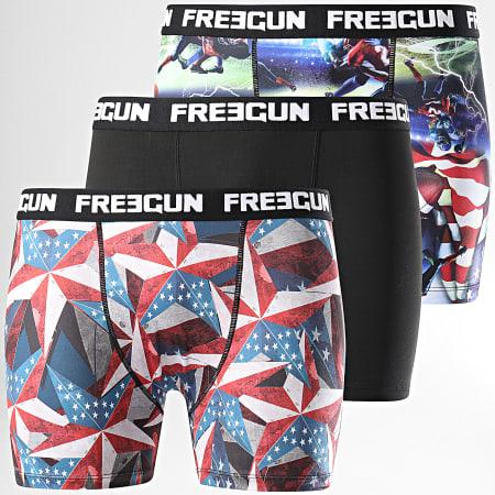 Freegun - Lot De 3 Boxers Coton Stretch Noir Multi