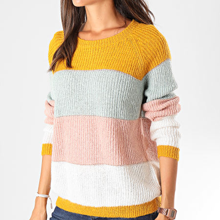 Only - Pull Femme New Malone Moutarde Bleu Pastel Rose Blanc