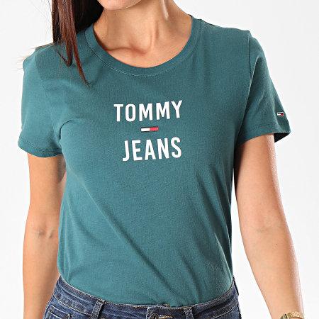 Tommy Hilfiger Jeans - Tee Shirt Slim Femme Square Logo 7155 Vert