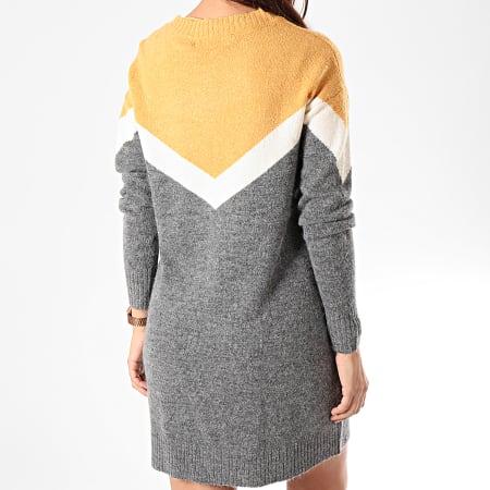 Vero Moda - Robe Pull Femme Manches Longues Luna Ginger Block Gris Anthracite Chiné Jaune
