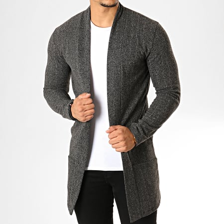 Aarhon - Gilet Oversize 19602 Gris Anthracite Chiné