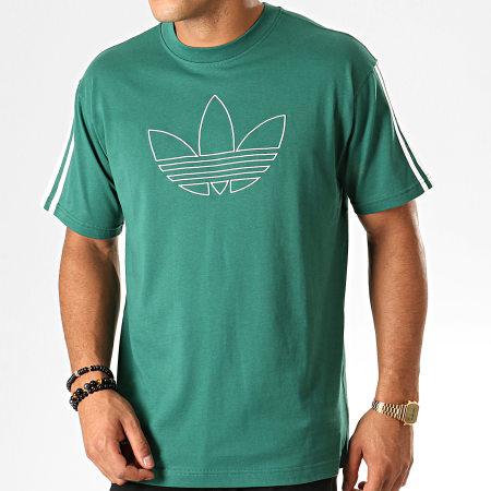 adidas - Tee Shirt A Bandes Outline Trefoil EJ7118 Vert