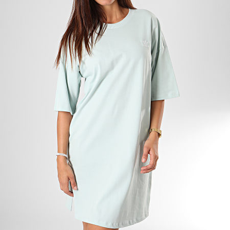 adidas - Robe Tee Shirt Femme Trefoil ED7580 Vert Clair