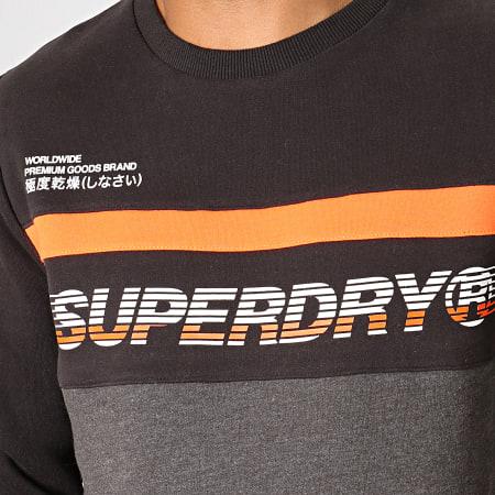 Superdry - Sweat Crewneck Worldwide Panel M200075B Noir Gris Anthracite Chiné