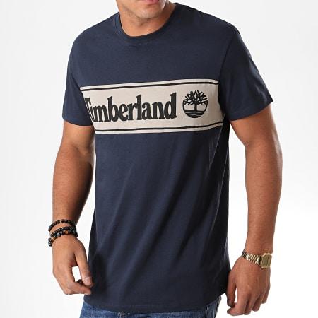 Timberland - Tee Shirt Cut And Sew Logo 1OA4 Bleu Marine Ecru Noir
