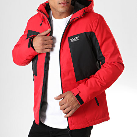Jack And Jones - Veste Zippée Capuche Best Rouge Noir