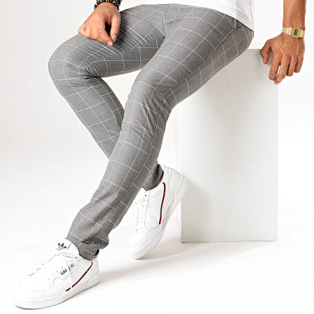 MTX - Pantalon A Carreaux DJ528 Gris Chiné