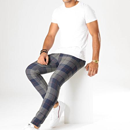 MTX - Pantalon A Carreaux DJ410 Gris Bleu Marine