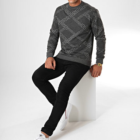 Uniplay - Sweat Crewneck UY446 Gris Anthracite Chiné Renaissance