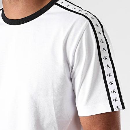 Calvin Klein - Tee Shirt A Bandes Monogram 3252 Blanc Noir