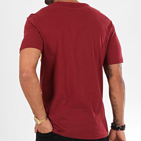Kaporal - Tee Shirt Orys Bordeaux Jaune Moutarde Blanc