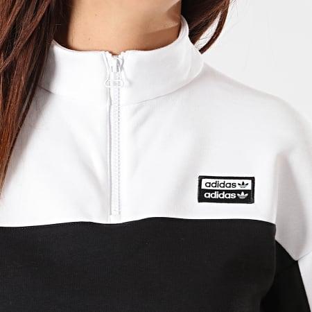 adidas - Sweat Crop Femme Col Zippé ED7439 Blanc Noir